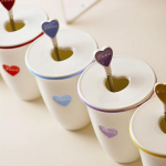 Love mug with cover and spoon-444