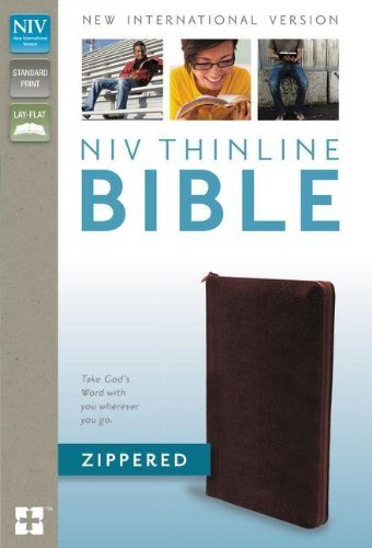 NIV Thinline Zippered Collection Bible - Burgundy-0