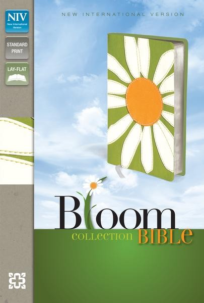 NIVThinline Bloom Collection Bible - Compact White flower design-585