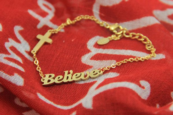 BELIEVE BRACELET GOLD PLATED-0