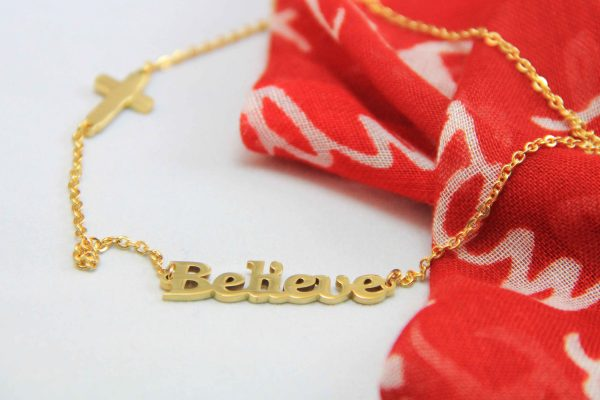 BELIEVE NECKLACE GOLD PLATED-0