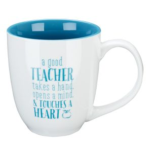 "Blue Blessing to the Teacher ""Touches a Heart"" Mug - 1 Corinthians 16:14-0"