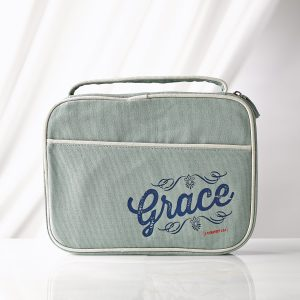"Blue ""Grace"" Retro Blessings Bible Cover (Medium)-0"