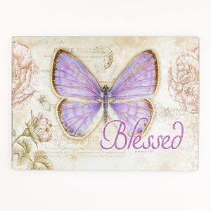 "Botanic Butterfly Blessings ""Blessed"" Glass Cutting Board / Trivet (Large: 15 5/8 x 11 3/4)-0"