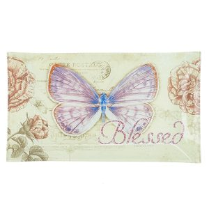 "Botanic Butterfly Blessings ""Blessed"" Glass Tidbit / Cookie Tray-0"