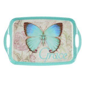 Botanic Butterfly Blessings Melamine Handled Serving Tray-0