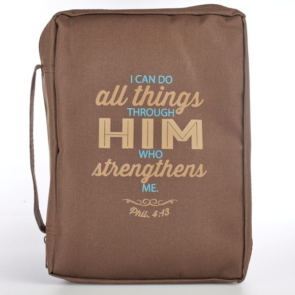 Brown Poly-Canvas Bible Cover Featuring Philippians 4:13 (Large)-0