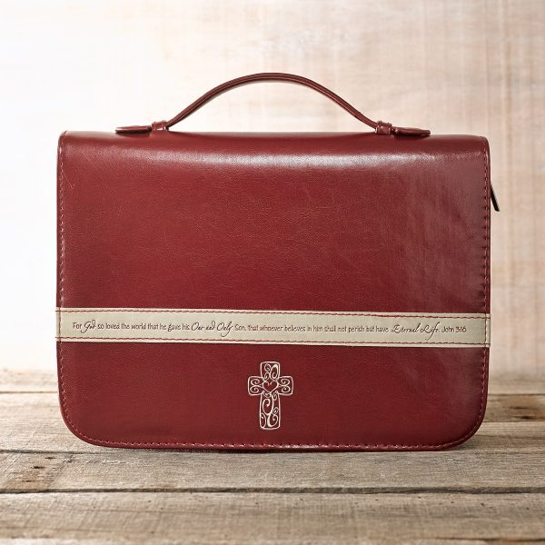 Burgundy Bible Cover Featuring John 3:16 and a Filligree Cross Design (Large)-0