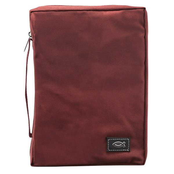Burgundy Fish Applique Poly-Canvas Bible Cover (Extra Small)-0
