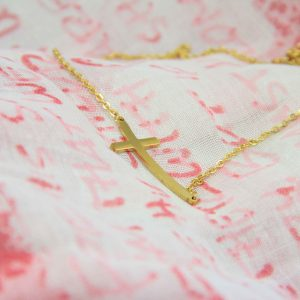 CURVE CROSS NECKLACE GOLD PLATED-0