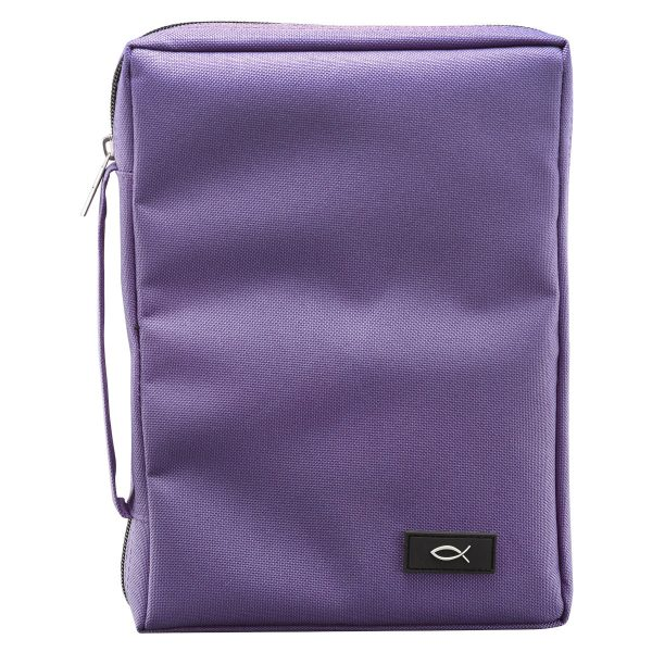 Dahlia Purple Poly-Canvas Bible Cover with Fish Applique (Medium)-0