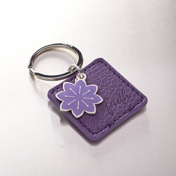 Faith Faux Leather Keyring with Flower Charm-0