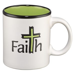 Faith (Green Interior) Stoneware Mug-0