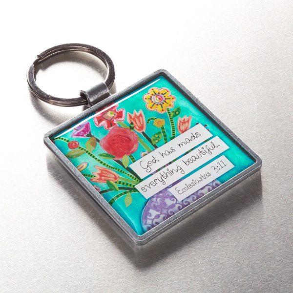 Floral Blessings Metal Keyring - Eccles. 3:11-0
