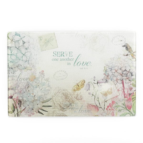 Floral Inspirations Med Glass Cutting Board - Galatians 5:1-0