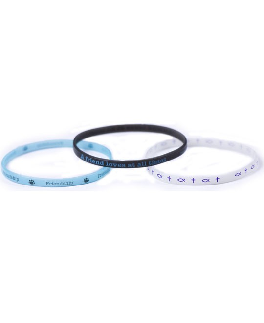 FRIENDSHIP 3 THIN SILICONE BRACELETS-0