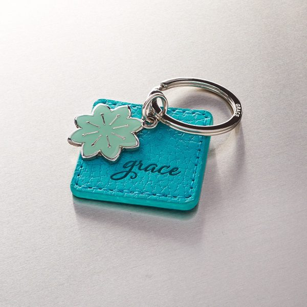 Grace Faux Leather Keyring with Flower Charm-0