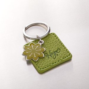 Hope Faux Leather Keyringwith Flower Charm-0