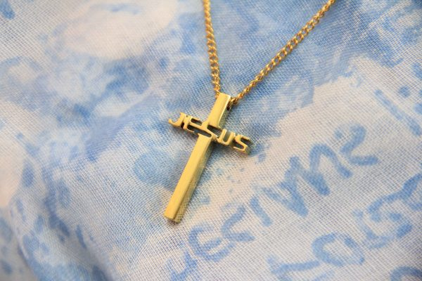 JESUS CROSS NECKLACE GOLD PLATED-0