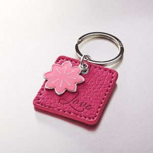 Love Faux Leather Keyring with Flower Charm-0