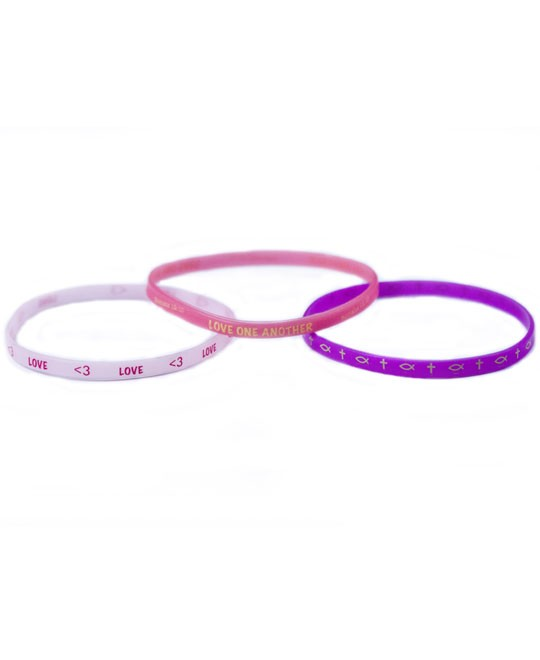LOVE ONE ANOTHER 3 THIN SILICONE BRACELETS-0