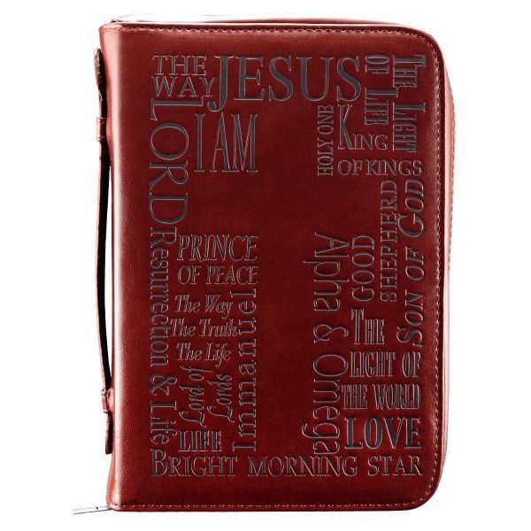 Names of Jesus Bible Cover in Burgundy (Large)-0