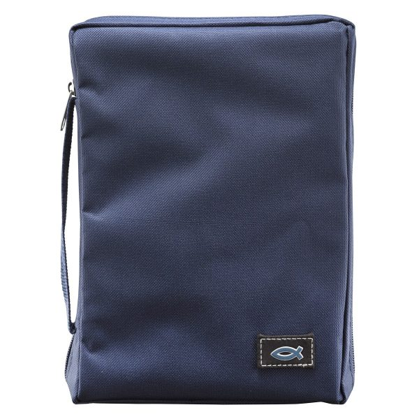 Navy Blue Fish Applique Poly-Canvas Bible Cover (Extra Small)-0