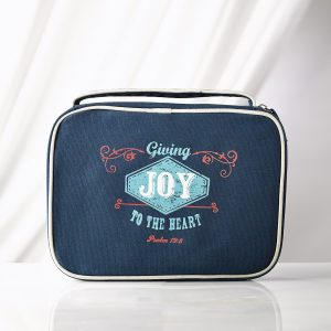 """Navy Blue """"Joy"""" Retro Blessings Bible Cover (Large)-0"""