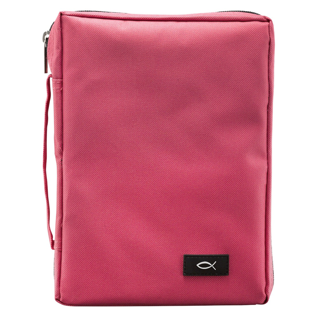 Pink Poly-Canvas Bible Cover with Fish Applique (Medium)-0
