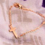 SMALL CROSS BRACELET GOLD ROSE-0