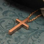 SMALL GEOMETRIC CROSS NECKLACE ROSE GOLD-0