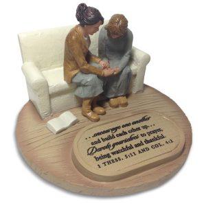 TWO WOMEN PRAYING DEVOTED SCULPTURE-0