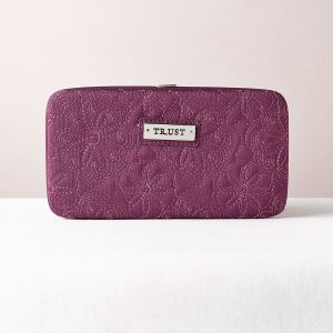 """""""TRUST"""" PURPLE EMBROIDERED FRAME WALLET-0"""