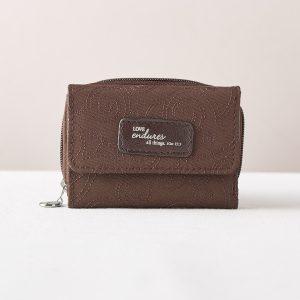 """""""love endures"""" Brown Microfiber Wallet-0"""