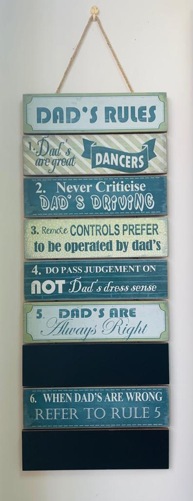 Dad's rules wooden decor plaque
